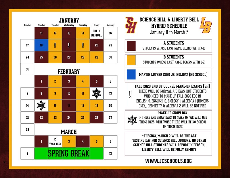 Science Hill and Liberty Bell Hybrid Schedule